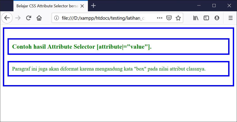 Hasil Attribute Selector CSS