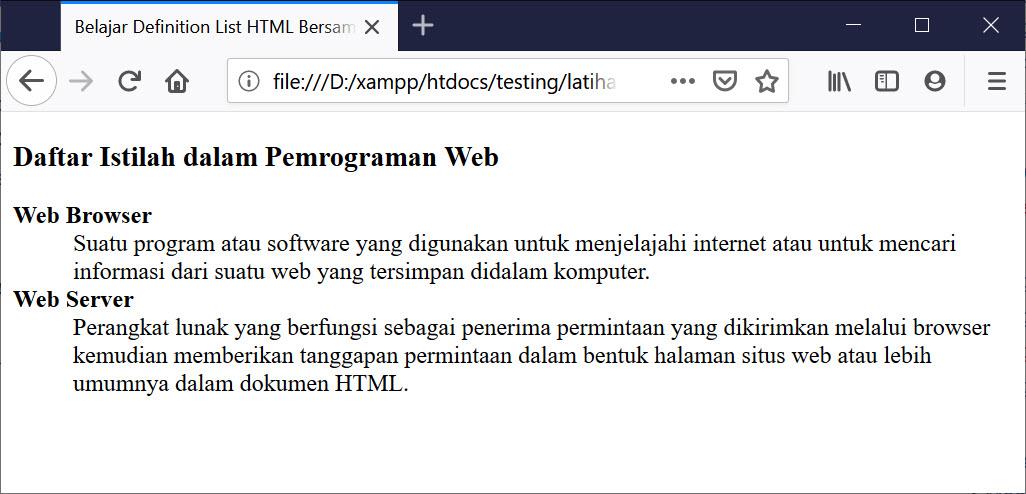 Hasil Definition List HTML
