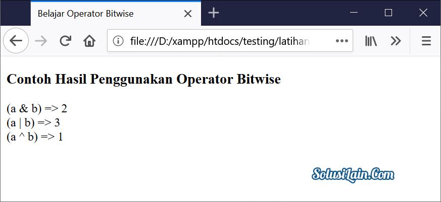 Hasil Operator Bitwise Javascript