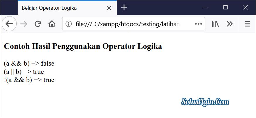 Hasil Operator Logika Javascript