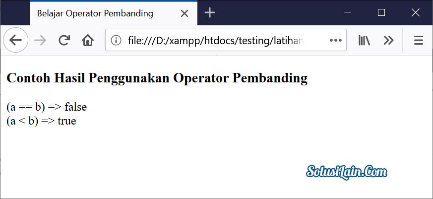 Hasil Operator Pembanding Javascript