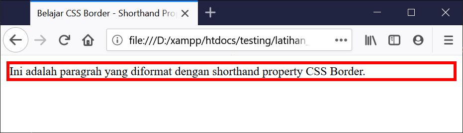 Hasil Penggunaan CSS Border Shorthand Property