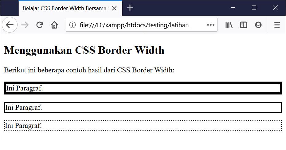 Hasil Penggunaan CSS Border Width